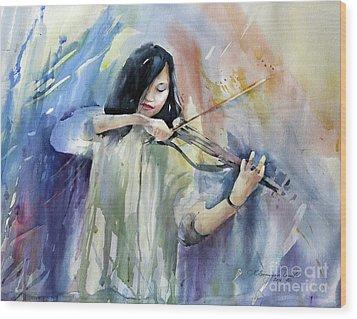 Violin Musician Wood Print