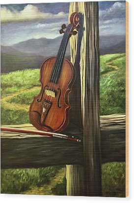 Wood Print featuring the painting Violin by Randol Burns