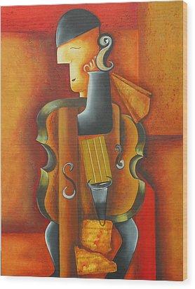 Violin Time Wood Print by Marta Giraldo