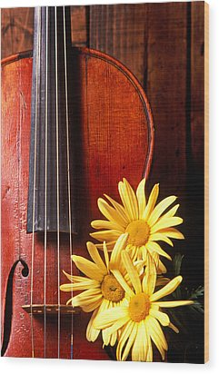 Violin With Daises  Wood Print by Garry Gay