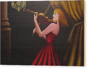 Violinist  Wood Print by Anh T Chau