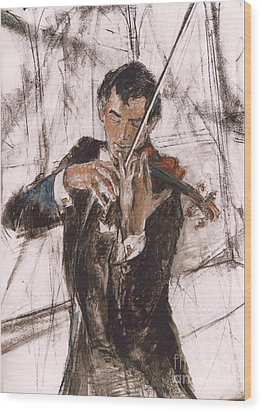 Wood Print featuring the painting Violinist by Debora Cardaci