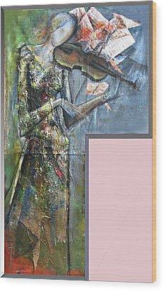 Violinist Woman Wood Print by Giorgi Kobiashvili