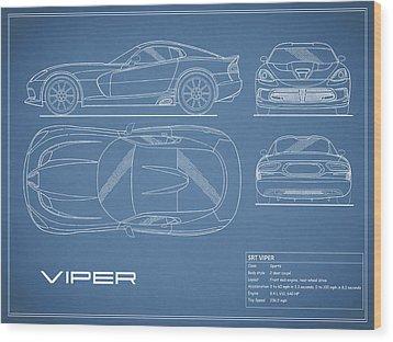 Viper Blueprint Wood Print by Mark Rogan