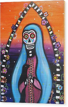 Wood Print featuring the painting Virgen Guadalupe Muertos by Pristine Cartera Turkus