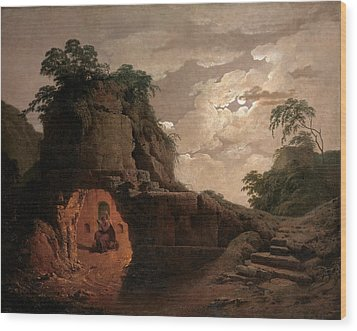 Wood Print featuring the painting Virgil's Tomb By Moonlight With Silius Italicus Declaiming by Joseph Wright of Derby