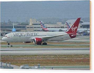 Virgin Atlantic Boeing 787-9 G-vzig Los Angeles International Airport May 3 2016 Wood Print by Brian Lockett