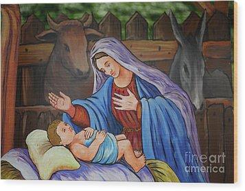 Virgin Mary And Baby Jesus Wood Print by Gaspar Avila