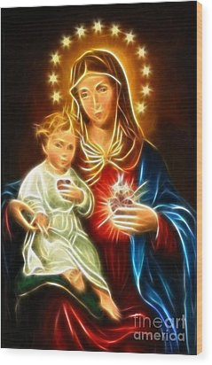 Virgin Mary And Baby Jesus Sacred Heart Wood Print by Pamela Johnson