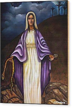 Virgin Mary- The Protector Wood Print by Carmen Cordova
