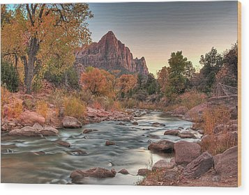 Virgin River And The Watchman Wood Print