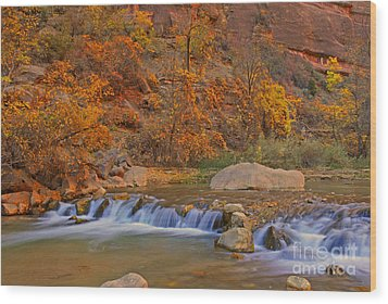 Virgin River In Autumn Wood Print by Dennis Hammer