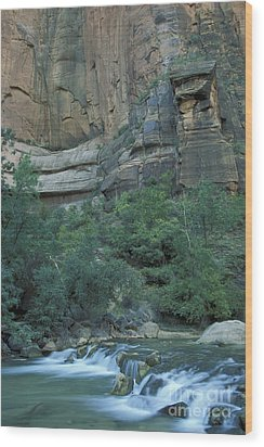 Virgin River In Zion 1 Wood Print by Stan and Anne Foster