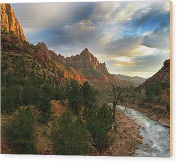 Virgin River Sunset Wood Print
