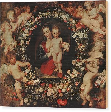 Virgin With A Garland Of Flowers Wood Print by Peter Paul Rubens
