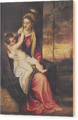 Virgin With Child At Sunset Wood Print by Titian