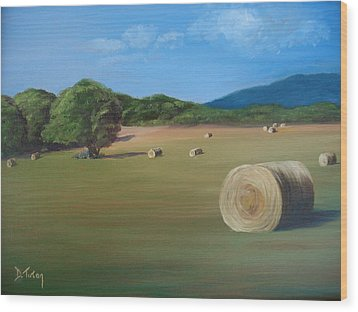 Wood Print featuring the painting Virginia Hay Bales by Donna Tuten
