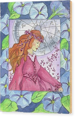 Wood Print featuring the painting Virgo by Cathie Richardson