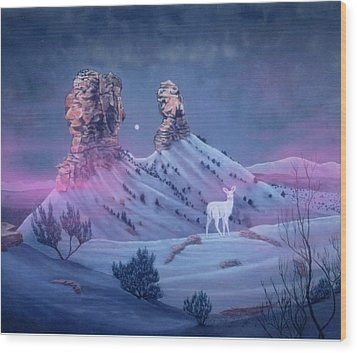 Vision Of The Legend Of White Deer Woman-chimney Rock Colorado Wood Print