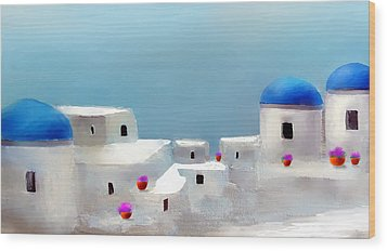 Visions Of Greece Wood Print by Larry Cirigliano