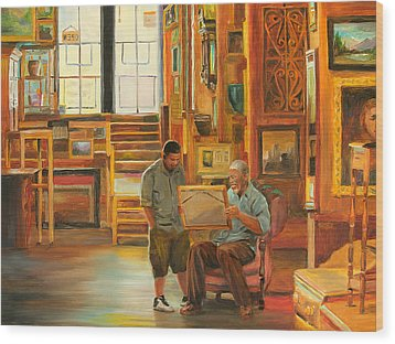 Visiting The Picture Man Wood Print