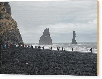 Wood Print featuring the photograph Visitors In Reynisfjara Black Sand Beach, Iceland by Dubi Roman