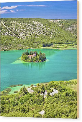 Visovac Lake Island Monastery Aerial View Wood Print by Brch Photography
