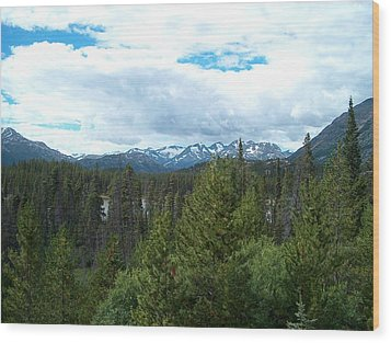 Vistas Along The Alcan Wood Print by Janet  Hall