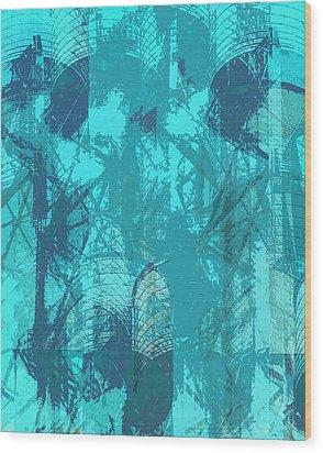 Vivid Blue Seafoam Nyc Water Towers  Wood Print