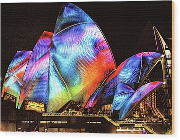 Wood Print featuring the photograph Vivid Festival, Sydney by Wallaroo Images