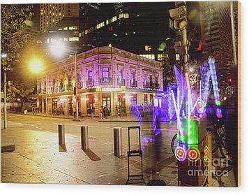 Wood Print featuring the photograph Vivid Sydney Circular Quay By Kaye Menner by Kaye Menner