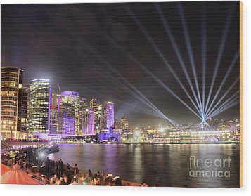 Wood Print featuring the photograph Vivid Sydney Skyline By Kaye Menner by Kaye Menner