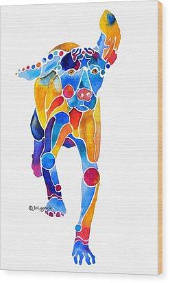 Vizsla Running  Wood Print by Jo Lynch