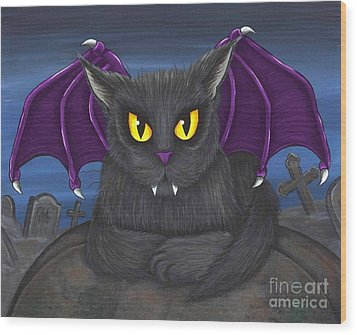 Vlad Vampire Cat Wood Print by Carrie Hawks