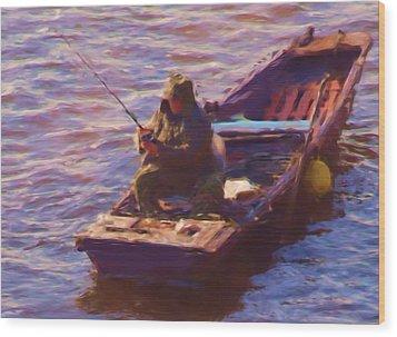 Vltava Fishing Wood Print by Shawn Wallwork