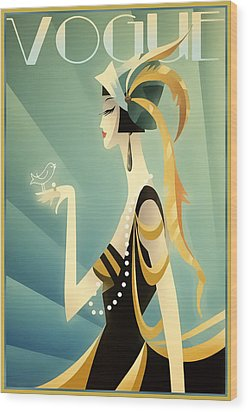 Wood Print featuring the digital art Vogue - Bird On Hand by Chuck Staley