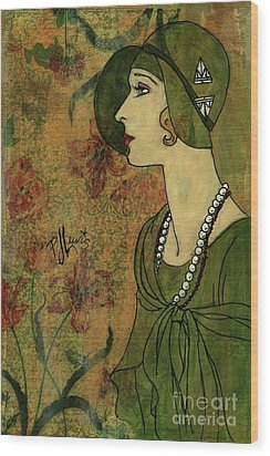 Wood Print featuring the painting Vogue Twenties by P J Lewis