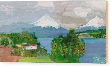 Volcanes Sur De Chile Wood Print by Carlos Camus