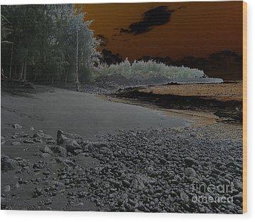 Volcanic Beach Wood Print by Silvie Kendall