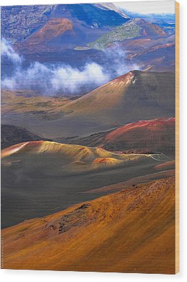 Volcanic Crater In Maui Wood Print by Debbie Karnes