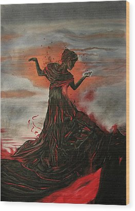 Volcano Keeper Wood Print by Melita Safran