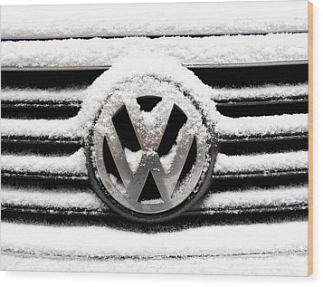 Volkswagen Symbol Under The Snow Wood Print