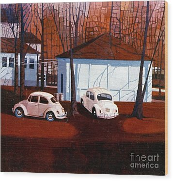 Volkswagons In Red Wood Print