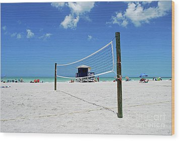 Wood Print featuring the photograph Volley Ball On The Beach by Gary Wonning