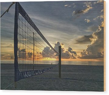 Volleyball Sunrise Wood Print
