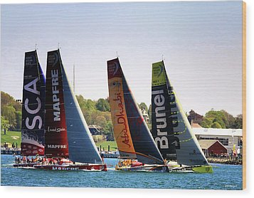 Volvo Ocean Race Newport Ri Wood Print by Tom Prendergast