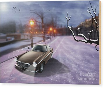 Volvo P1800 Snow Scene Wood Print by Linton Hart