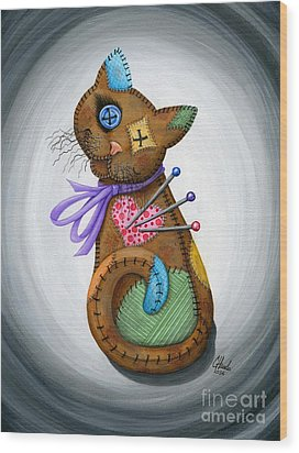 Wood Print featuring the painting Voodoo Cat Doll - Patchwork Cat by Carrie Hawks