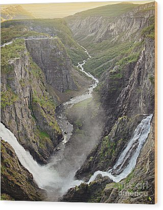 Voringsfossen Waterfall And Canyon Wood Print