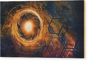 Vortex Of Fire Wood Print